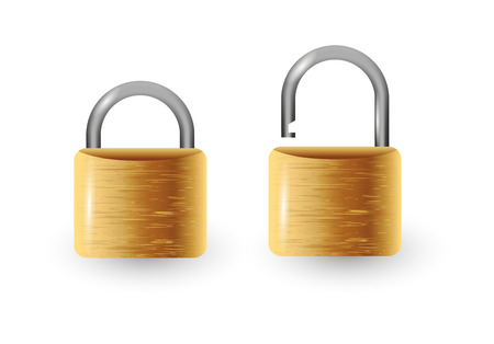 ilustration and painting: Closed and open vector padlock vector illustration. Isolated on white.