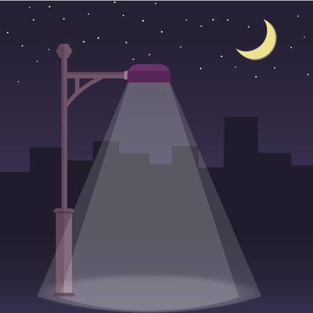 streetlight: Vector streetlamp on night city background. Streetlight at night flat illustration. Moon and stars.