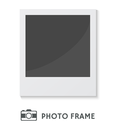 instant film transfer: Detailed vector illustration of a retro photo frame isolated on white background.