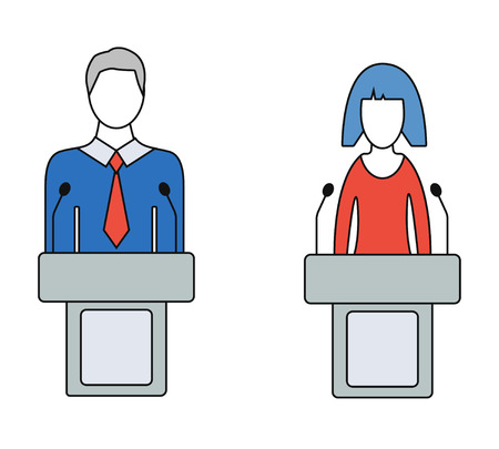 spokesman: Man and woman speaker, orator, colorful icons. Isolated on white background. Thin line vector illustratoin. Illustration