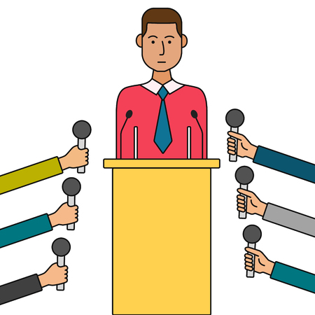 press conference: Politician or business man giving a press conference. Concept thin line cartoon vector illustration.