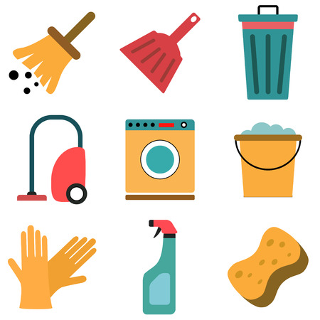 scrubbing: Vector set of cleaning flat icons. Isolated on white. Illustration