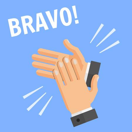 Concepto de estilo plano de vector de ilustración de éxito sobre fondo azul con texto - bravo. Manos palm aplausos, aplausos.