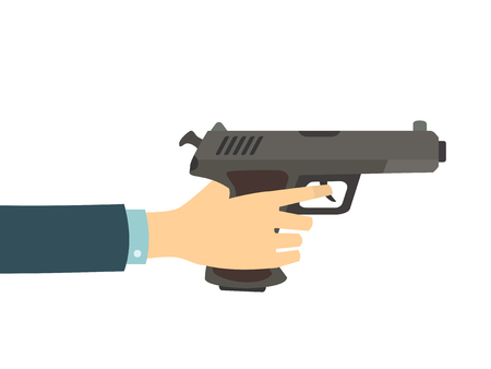 finger on trigger: Hand holding a gun isolated on white background. Vector flat illustration.