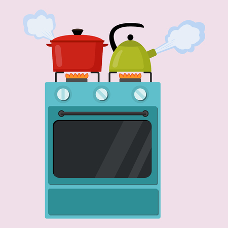 to boiling: Kitchen stove flat style isolated vector illustration. Boiling pot and kettle on the stove. Preparing food, cooking.