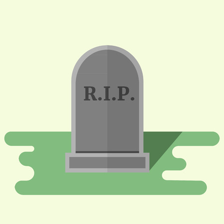 rip: Vector flat style illustration gravestone with text R.I.P Tombstone icon.