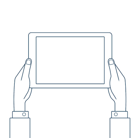 Hands holding tablet pc. Line drawing vector illustration.
