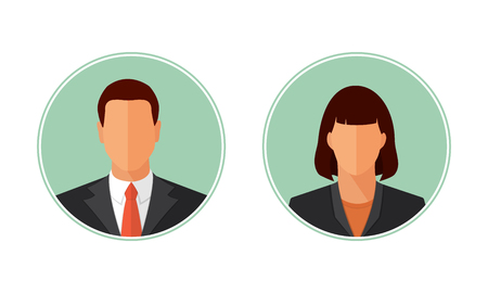 userpic: Business man and woman avatars, portraits. Flat style design vector circle illustration isolated on white. Male and female icon set.