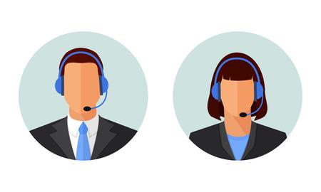 Apoio ao cliente on-line masculino e feminino, ícones de serviço. Avatares de operador de centro de chamada de homem e mulher. Ilustrações de vetor de círculo design plano isoladas no branco.