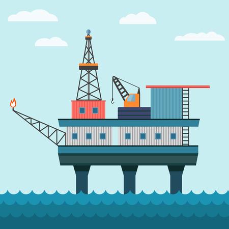 sea pollution: Vector industrial flat illustration offshore oil platform in sea background. Helipad, crane, derrick, hull column. Illustration
