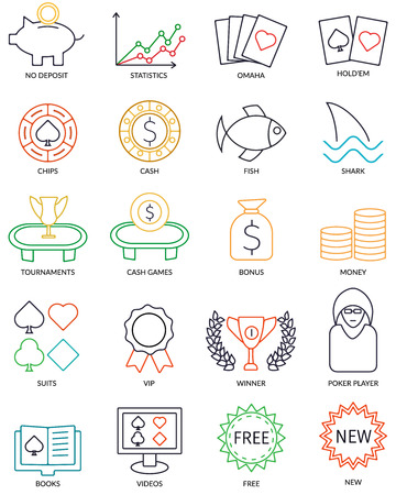 Set Of Vector Thin Line Online Poker Icons For Affiliate Promotional Web Site. 20 icons.