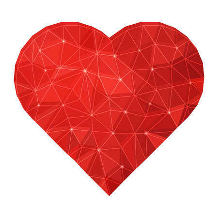 Vector polygonal geometric ruby red heart illustration. Isolated on white.