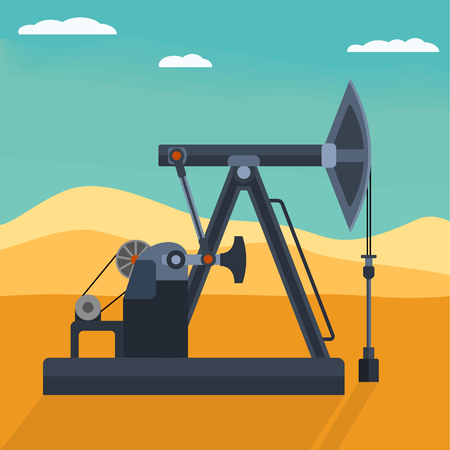 oilwell: Pumpjack detailed flat style vector illustration. Working oil well pump on the desert background. Industrial machine for extraction of petroleum.