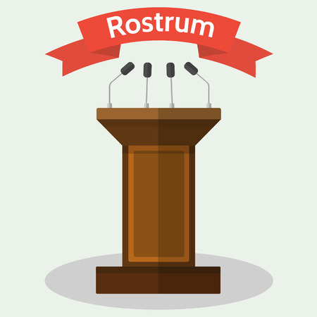 spokesman: Vector flat style Illustration of wooden podium tribune rostrum with with microphones.
