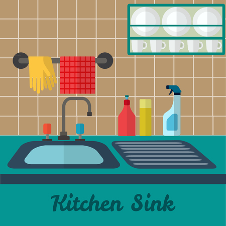 kitchen sink: Vector flat Kitchen sink illustration.