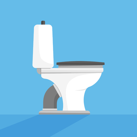Toilet seat, bowl side view flat style design vector illustration on blue background with shadows. Restroom, lavatory, privy, closet, loo.