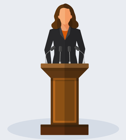 woman speaking: Politician woman standing behind rostrum and giving a speech. Vector flat style colorful illustration Illustration