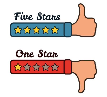 Five and one stars on the red blue hands with text. Thumb up and thumb down. Vector illustration isolated on white. Illustration