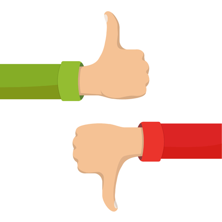 Two hands showing thumb up and thumb down signs. Positive and negative feedback, good and bad gestures, like and dislike. Flat style vector concept illustration isolated on white background. Illustration
