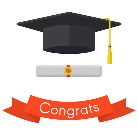 Black graduation cap and diploma. Vintage red ribbon with invitation. Vector flat illustration iIsolated on white background.