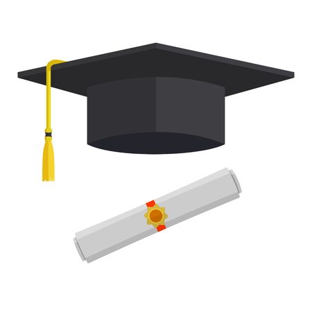 Graduation cap and rolled diploma scroll with stamp. Finish education concept. Flat style vector illustration isolated on white background. Ilustração