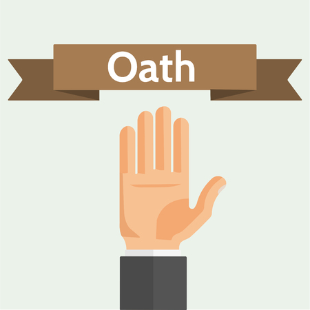 Hand palm and ribbon. Oath, swear, vow, pledge concept flat style vector illustration.