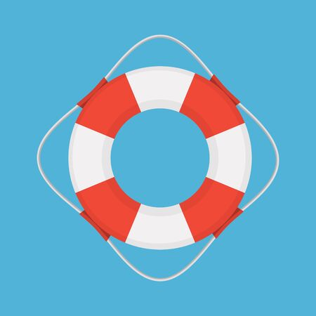 Vector flat style colored illustration of lifebuoy on blue background.