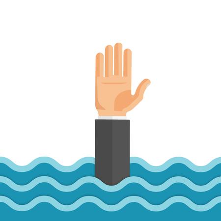 Flache Artvektor-Konzeptillustration des Ertrinkens des Mannes Hand heraus für Hilfe erreichend.