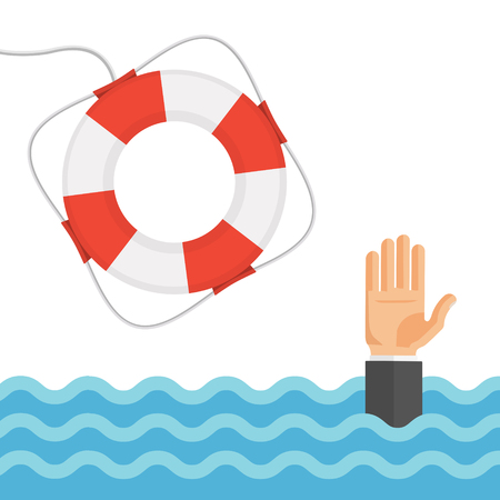 raise hand: Helping to survive business concept. Drowning mans hand in sea or ocean and lifebuoy. Flat style vector illustration.