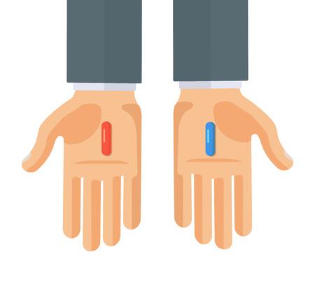 赤と青の薬で手のフラット スタイル ベクトル イラスト 写真素材 - 83784235