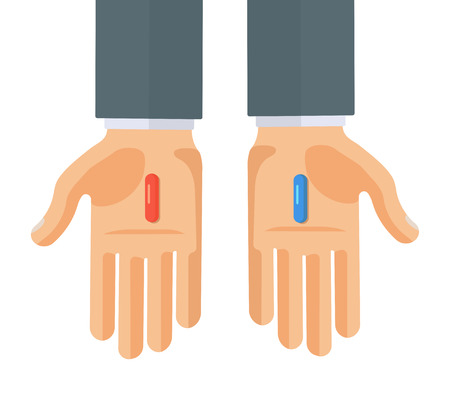 Flat Style Vector Illustration of Hands with Red and Blue Pills