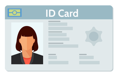Student ID, Identification or driver license, national identity card with electronic chip with female photo. Document template. Flat style vector illustration isolated on white.