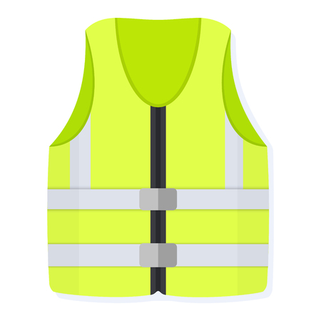 Flat style vector illustration of yellow reflective safety vest in front view isolated on white. Work life jacket icon.