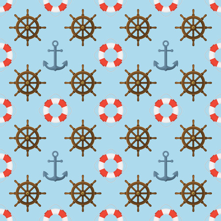 Seamless flat style vector nautical pattern with anchor, steering wheel, life buoy on blue background.
