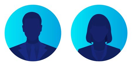 Male and female face avatars, man and woman silhouette heads in profile icon on blue brightly background. Flat style vector illustration isolated on white.