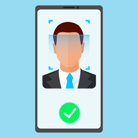 Face ID recognition and identification system. Scanning process mans face on the screen mobile phone. Biometric identification app. Flat style vector concept illustration isolated on blue bacground.