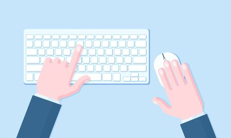 Computer wireless keyboard and mouse with hands of user. Technology and business concept vector flat style illustration on blue background.