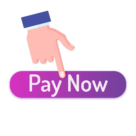 Man finger clicks on pay now button. Flat style vector illustration oval web icon isolated on white background.