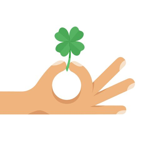 Four leaf lucky green clover in human hand. Flat style cartoon colorful concept vector illustration isolated on white background.