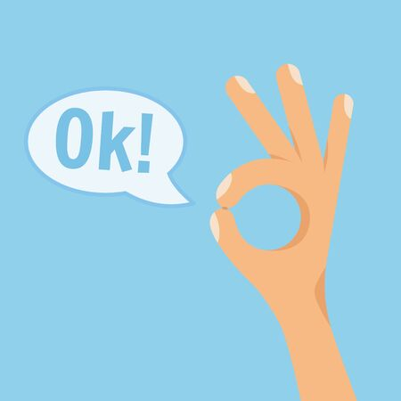 Human hand showing okay sign on blue background. Flat style vector concept cartoon illustration with text OK in speech bubble.