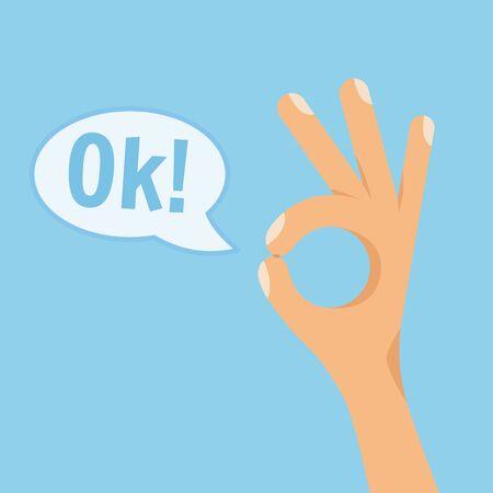Menschliche Hand zeigt okayzeichen auf blauem Hintergrund. Flache Artvektorkonzept-Karikaturillustration mit Text OK in der Sprechblase.