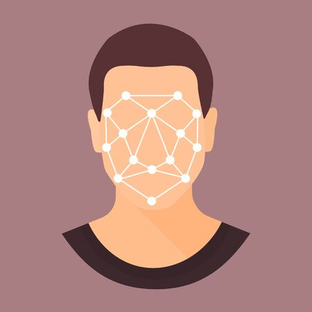 Biometric scanning of man. Face recognition personal verification, identity detection. Flat style colorful vector illustration.