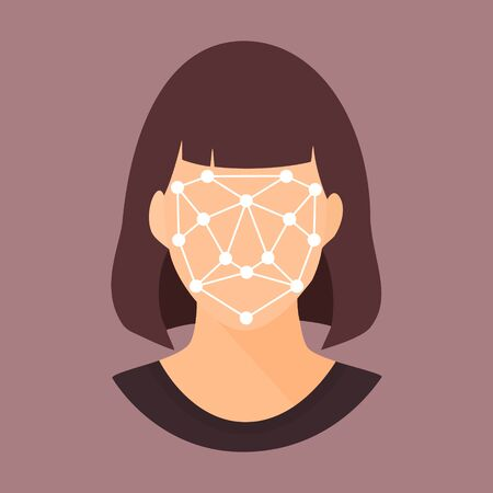 Biometric scanning of woman. Face recognition personal verification, identity detection. Flat style colorful vector illustration. Illustration