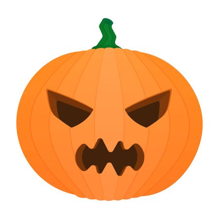 Halloween orange pumpkin with angry face carving vector illustration image icon isolated on white background.