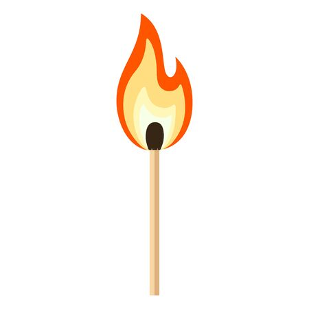 Matchstick with red, orange, yellow fire. Burning match stick cartoon flat vector Illustration isolated on white background. Illustration