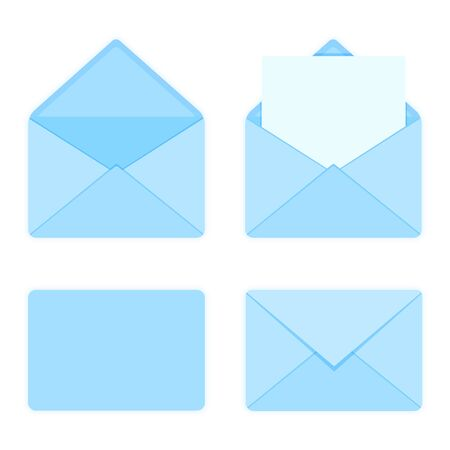Set of blank blue color envelopes icons. Flat style vector illustration.