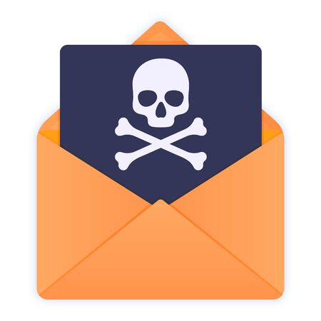 Yellow envelope with skull and crossbones. E-mail spam, virus, scam, malware alert received, internet hacking message, online phishing. Flat style vector illustration icon isolated on white.