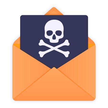 Enveloppe jaune avec tête de mort. Spam par e-mail, virus, arnaque, alerte de malware reçue, message de piratage Internet, phishing en ligne. Icône d'illustration vectorielle style plat isolé sur blanc.