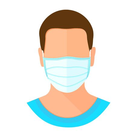 Man wearing protective mask on face. Flu epidemic, dust allergy, protection against virus. Flat cartoon style vector illustration icon isolated on white background.