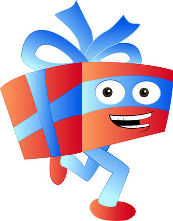 Running gift character - illustration cartoon illustration